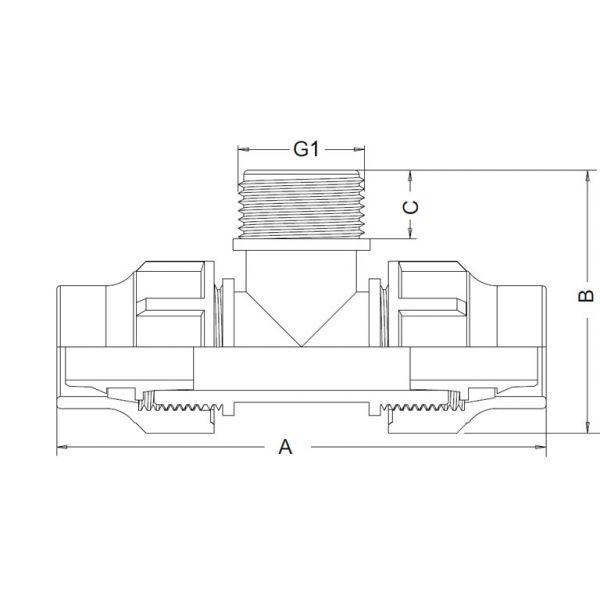 Vorschau: T-Stück Lock-Quick x Außengewinde