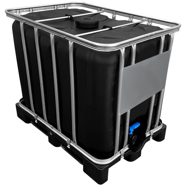 600l IBC Container in SCHWARZ (UV-Schutz) auf Kunststoffpalette NEU