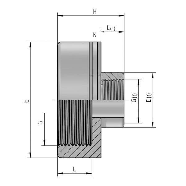 Vorschau: PP Gewindefittings Gewindeverschraubung Reduziermuffe Fitting 2x Innengewinde