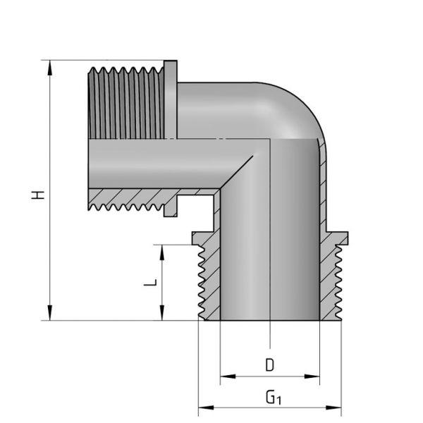Vorschau: PP Gewindefittings Gewindeverschraubung Winkel 90° 2x Außengewinde